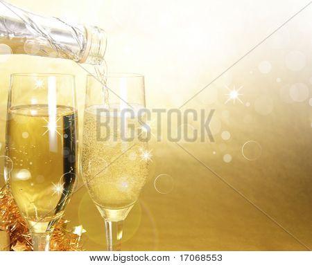 Champagner-Gläser. Feier golden Thema