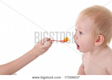 Baby Boy Opening Mouth For Food