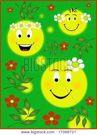 Smileys spring illustration