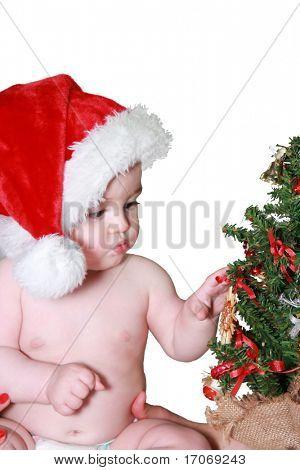 Santa baby with christmas tree