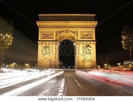 Beautiful night view of the Arc de Triomphe, Paris, France.