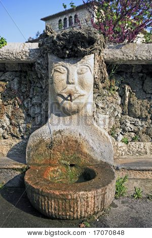 fountain of the typical south east of france old stone village of saint paul de vence on the french riviera refuge of many artist,painters,sculptors