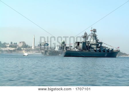 Helicopter Lands Aboard Warship