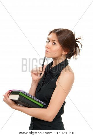 Young Woman Holding Textbook Notebook Organizer