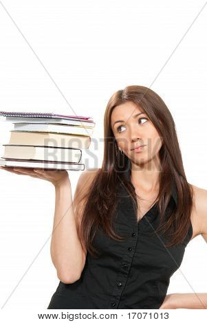 Brunette Woman Student Hold Books, Textbooks, Notebook