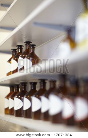Rows Of Bottles In Pharmacy