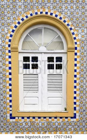 window house of the historic center of the city of sao luis of maranhao in brazil