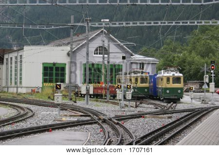 Rack Railway Station In A Swiss Valley