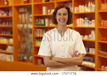 Pharmacy In Front Of Shelves
