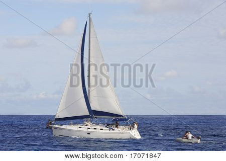 sailing boat cruising of the seychelles island