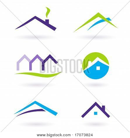 Real Estate  Icons Vector - Purple, Green, Orange.