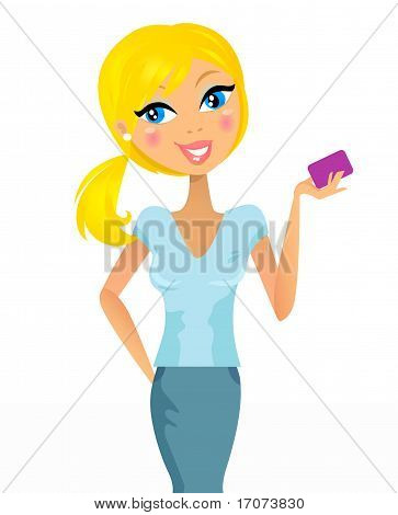 Cute Blond Hair Girl With Credit / Customer Card - Isolated On White.