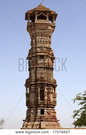 tower of fame inside the Chittorgarh fort aera in rajasthan state in india
