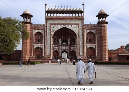 Taj Mahal entrance gate  in agra in rajasthan state in india