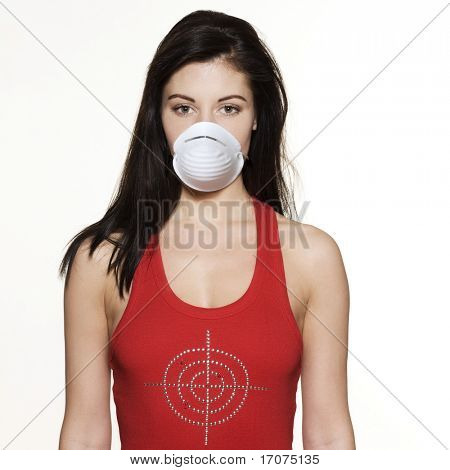 studio portrait of a beautiful woman on isolated on white background wearing a protection mask