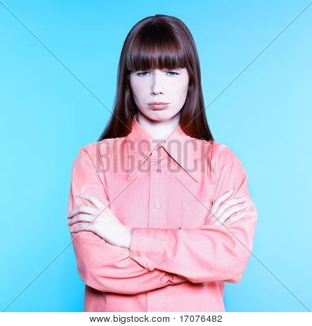 studio portrait of a young woman on isolated background bore