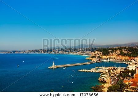 beautiful skyline of nice cote d'azur on the french riviera france