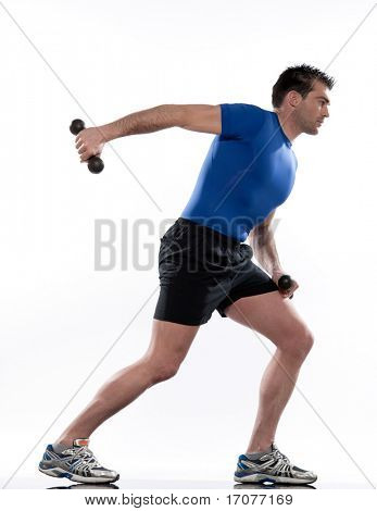 man doing workout Lunges Triceps Extension on white isolated background.