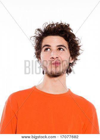 jungen denken caucasian mann Portrait im Studio auf weißem Hintergrund