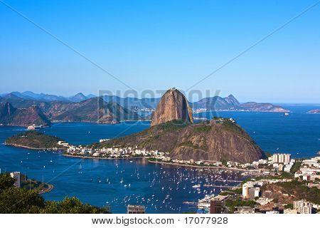 Luftbild von Botafogo und dem Zuckerhut in Rio De Janeiro Brasilien