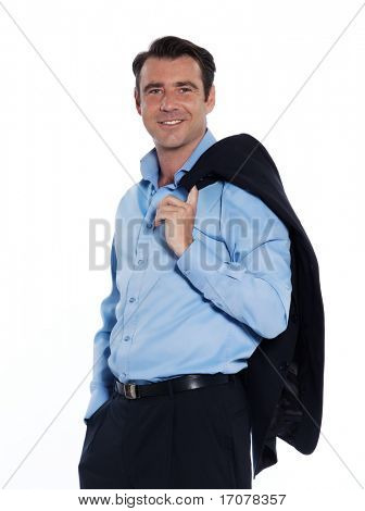 Handsome caucasian man businessman standing relaxed portrait on white isolated backgroun