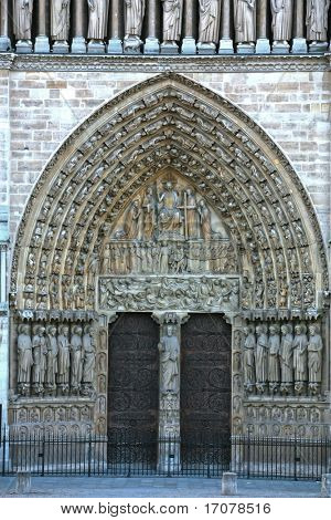 Notre Dame de Paris carhedral Last Judgment Portal entrance door in franc
