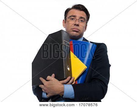 man businessman holding folders bored overload isolated studio on white background
