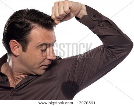 man sweating perspiring stain isolated studio on white background