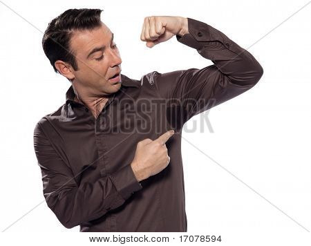 man sweating transpiration stain isolated studio on white background