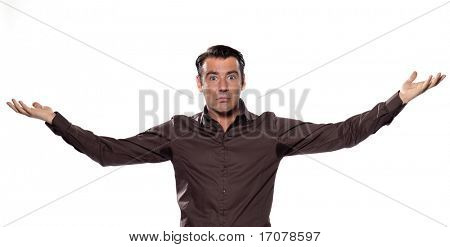 man transpiration stain distraught isolated studio on white background