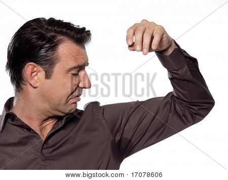man sweating sniffle stain isolated studio on white background
