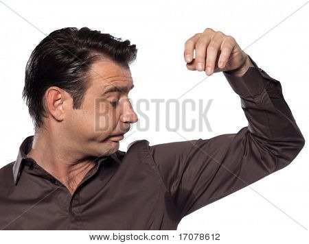 man perspiring sweat stain displeased isolated studio on white background