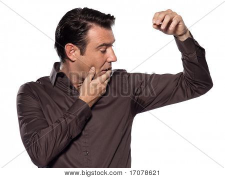 man perspiring stain annoyed isolated studio on white background
