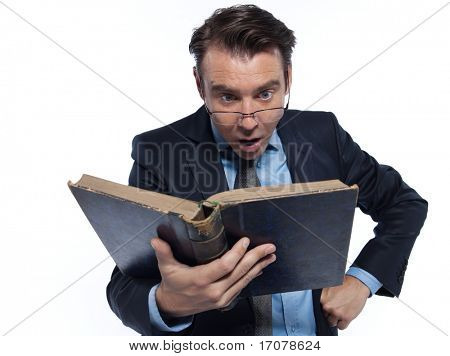 man caucasian professor historian reading old book surprised  isolated studio on white background