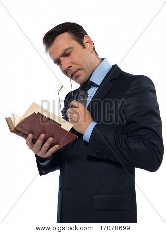man caucasian teacher professor reading ancient book concentrated isolated studio on white background