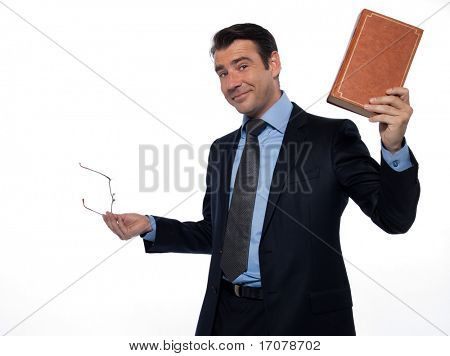 man caucasian teacher professor teaching rising book isolated studio on white background