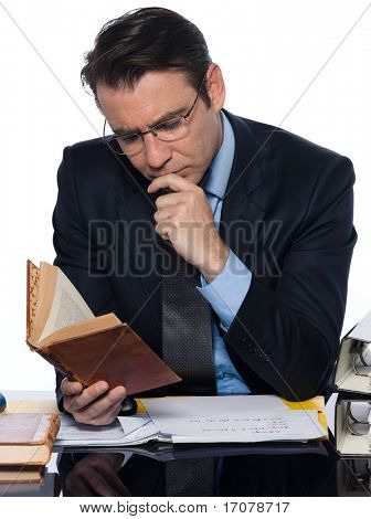 man caucasian teacher professor reading concentrated isolated studio on white background