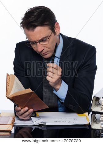 man caucasian teacher professor teaching isolated studio on white background
