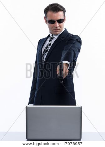 man caucasian pirate computer attack isolated studio on white backgroun