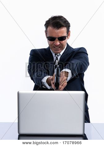 man caucasian computer attack isolated studio on white backgroun