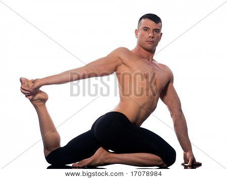 caucasian man gymnastic stretch warm up isolated studio on white background