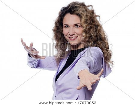 caucasian woman aerobics gesture portrait isolated studio on white background