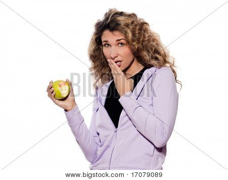 caucasian woman painful teeth portrait isolated studio on white background