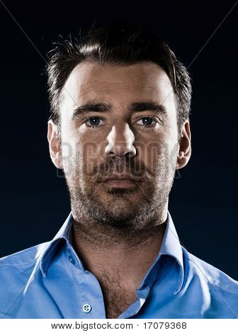 caucasian man unshaven portrait blank expression isolated studio on black background