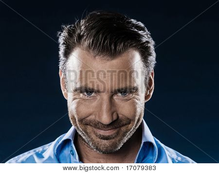 caucasian man smiling sneaky unshaven portrait isolated studio on black background