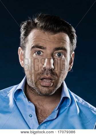 caucasian man unshaven shocked portrait isolated studio on black background