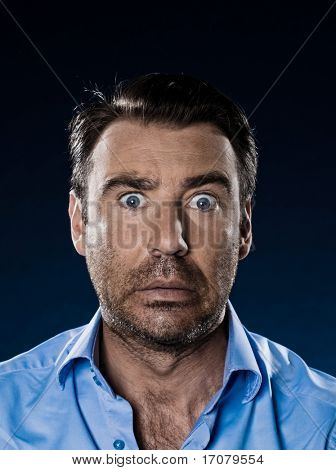caucasian man unshaven portrait surprised isolated studio on black background