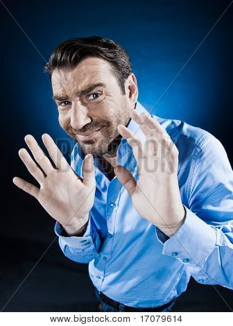 caucasian man hide fear unshaven portrait isolated studio on black background