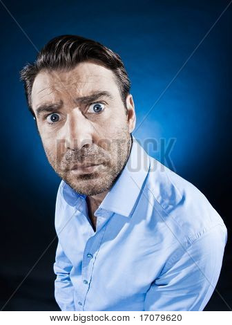 caucasian man stununshaven portrait isolated studio on black background