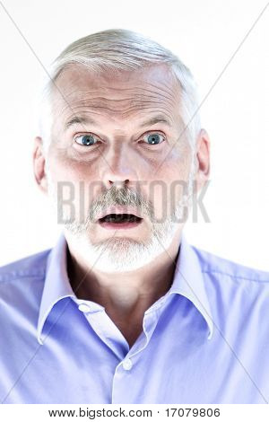 caucasian senior man portrait stun isolated studio on white background